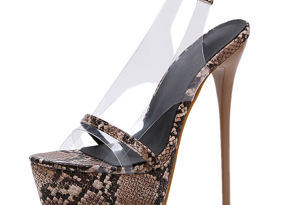 Aneikeh 2019 Fashion NEW PVC Leopard Print Platform High Heels Sandals Summer