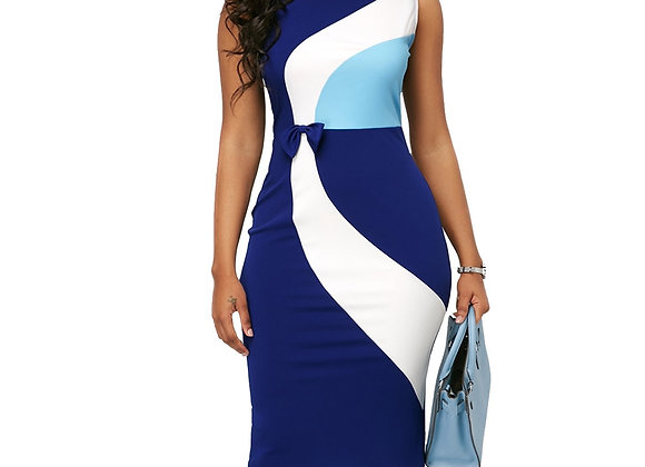 Casual Plus Size Slim Office Pencil Bodycon Dresses Vintage Sexy Geometric