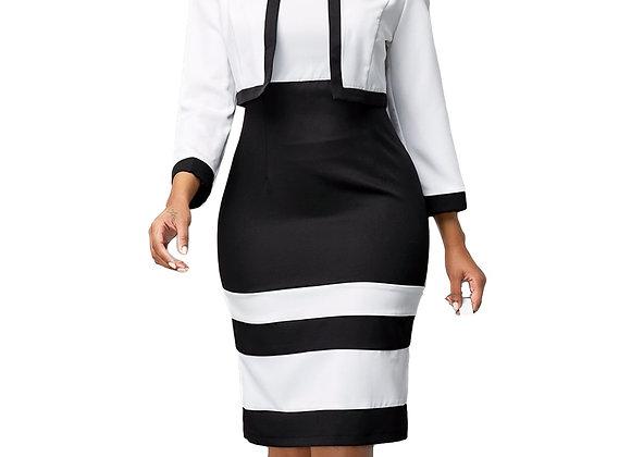 Casual Plus Size Slim Office Pencil Bodycon Autumn Dress Set Elegant