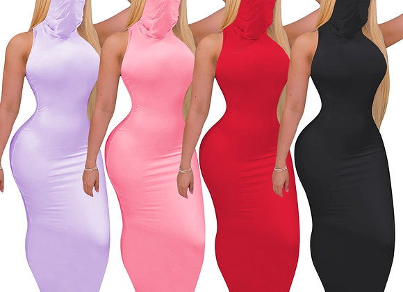 CM.YAYA Women Summer High Neck Sleeveless Sexy Party Club Maxi Midi Dress Street