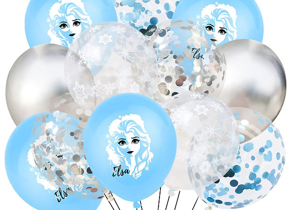 1set Elsa Disney Frozen Princess Helium Balloons Confetti Latex Balls Baby Showe
