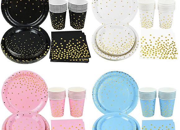 40Pcs Disposable Party Tableware Set Gold Disposable Cups Plates Paper Napkins