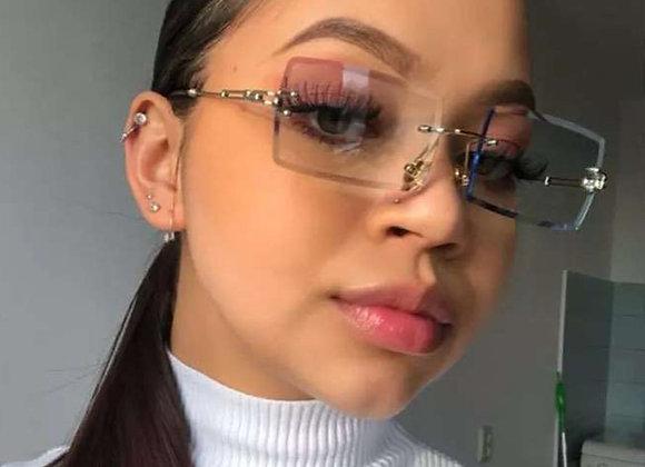 Fashion Rectangle Sunglasses Women Brand Designer Rimless Square Sun Glasses