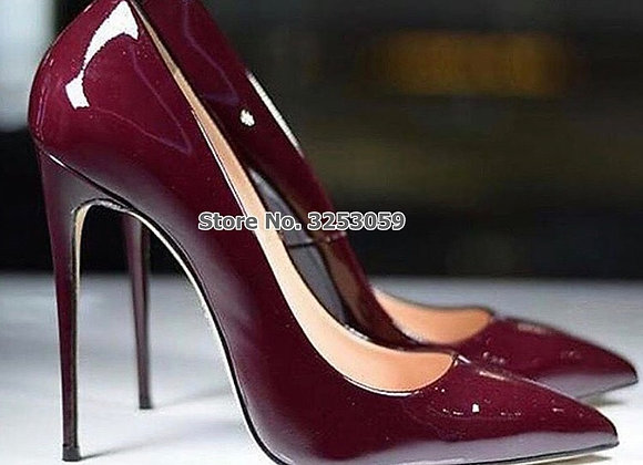 ALMUDENA European Sexy Burgundy Mirror Leather Shoes Thin High Heel Wine Red