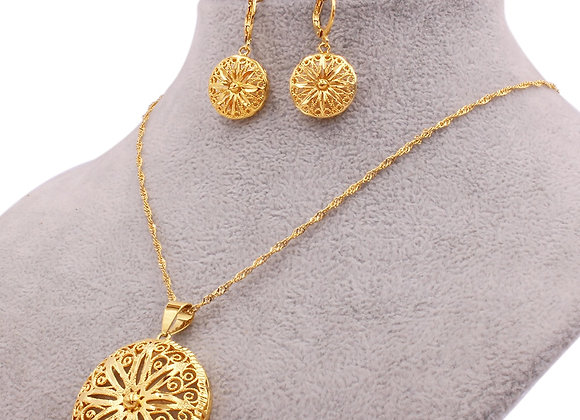 Dubai Gold Color Wedding Ornament Jewelry Sets for Women African