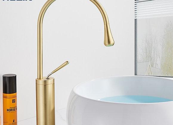 Brushed Golden Basin Faucet Single Lever 360 Rotation Spout Brass Mixer Tap