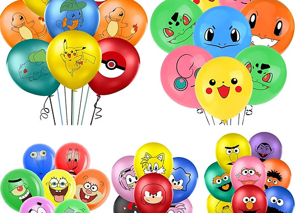 1set 12inch Multicolor Cartoon Image Latex Balloon Anime Pattern Balloon Kids To