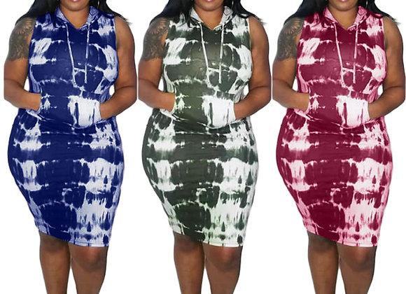 CM.YAYA Autumn Active Wear Tie Dye Print Hooded Sleeveless Plus Size L-4xl Women