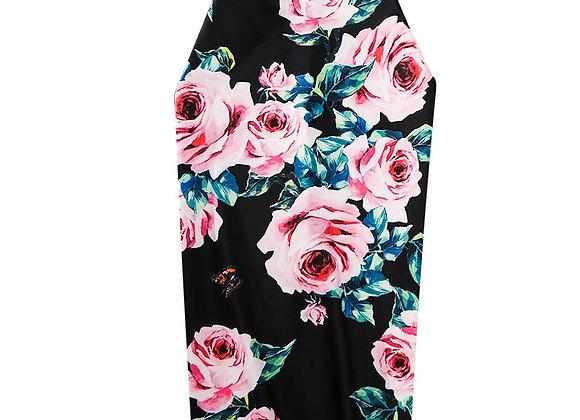 CR Women Retro Rose Floral Pattern Printed  Sexy Bodycon Midi Pencil Skirts XXL