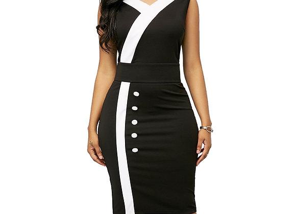 Casual Plus Size Slim Office Bodycon Dresses Elegant Sexy v Neck Midi