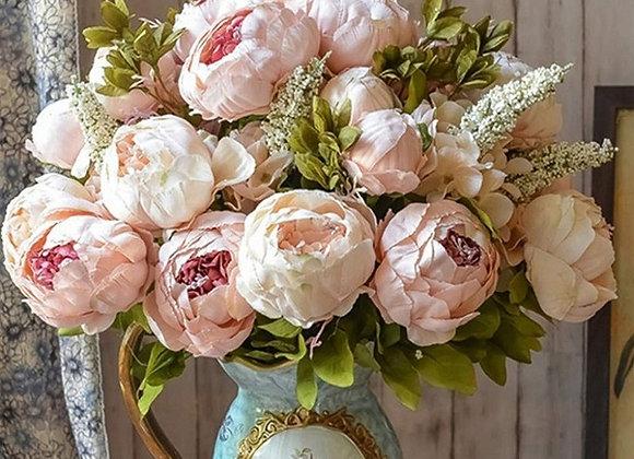1Bunch European Artificial Peony Flowers Silk Fake Flowers Wedding Party