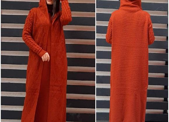 2 Pcs Women Long Dress Combine Set Autumn Winter Coat Women Tricot Turkish High