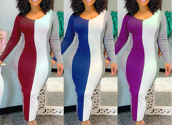 Contrast Color Patchwork Dress Woman Casual Long Sleeve O Neck High Waist