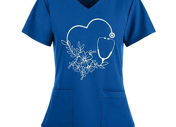 #A232 Women Short Sleeve V-Neck Tops Working Uniform Floral Love Print Pocket