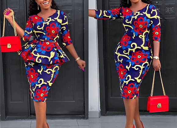 African Dresses for Women 2 Piece Set Dashiki Print Africa Dress African Cloth