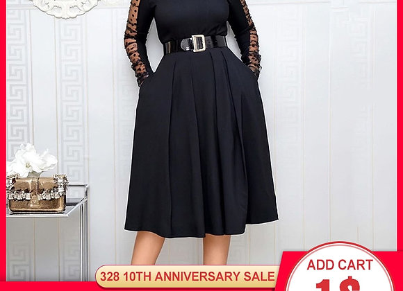 Elegant Black Mesh Long Sleeve Dress