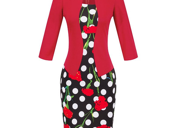 Autumn Pencil Dress Office Elegant Plus Size Black Red Fashion Female Bodycon