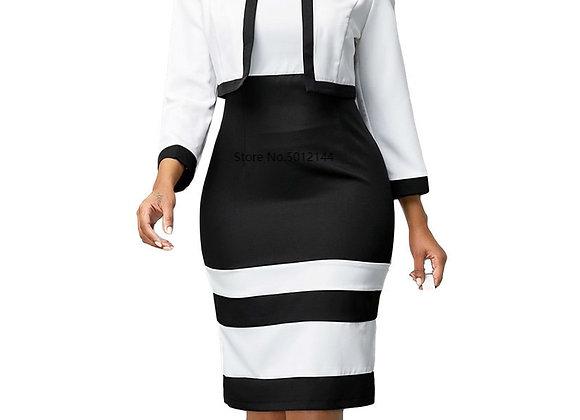 Casual Plus Size Slim Office Pencil Bodycon Autumn Dress