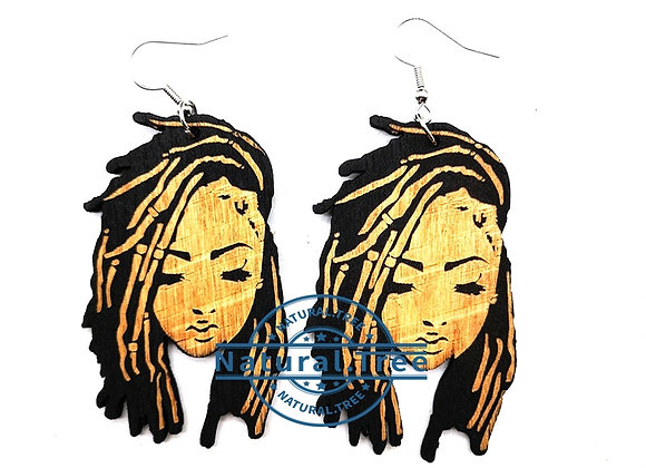 2020 Afro Natural Hair Black Girl Wooden Earrings