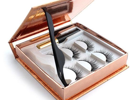3 Pairs 3d Eyelashes Magnetic Eyeliner& Magnetic False Eyelashes & Tweeze