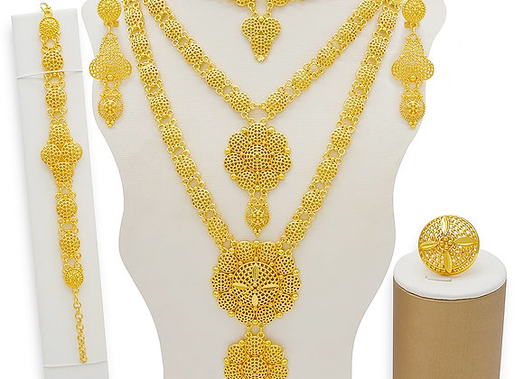 Dubai Jewelry Sets Gold Necklace & Earring Set for Women African France Wedding