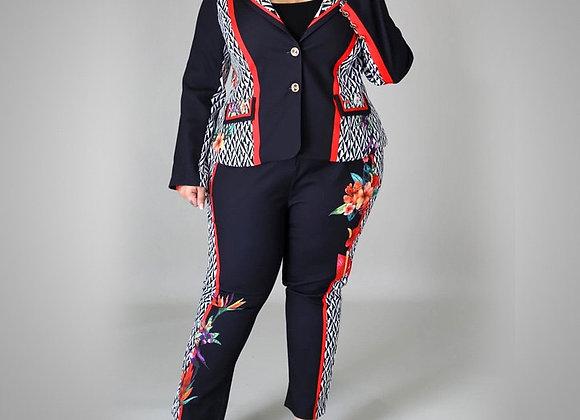 3xl 4xl Plus Size Women Large Blazer Sets Floral Print Patchwork Coat & Pants