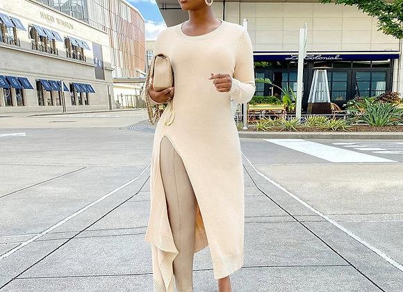 CM.YAYA Knit High Side Split A-Line Maxi Dress for Women Streetwear Long Sleeve