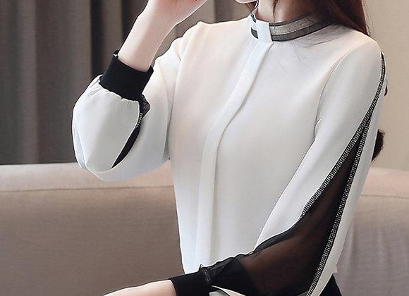 Chiffon Women Blouse Diamonds New 2020 Sexy Casual Hollow Out Mesh Korean Shirt