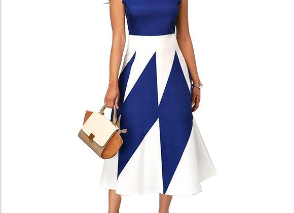 Elegant Sexy Strapless Patchwork Color A-Line Dress Women