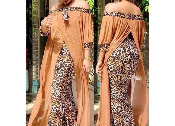 African Long Maxi Dress Women's Leopard Slash Neck Off the Shoulder Backless