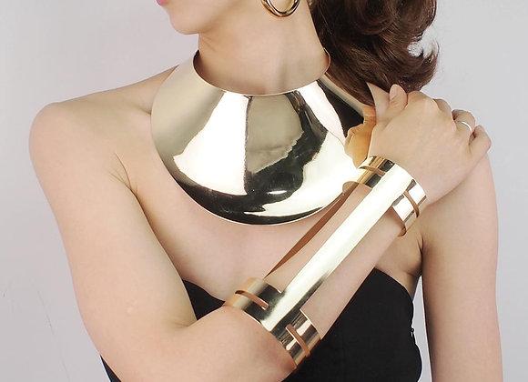 Alloy Torques Opened Cuff Bracelet Necklace Earrings Sets Women Dress Accessorie