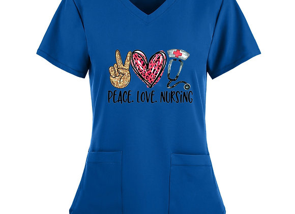 *B261 Women Short Sleeve V-Neck Tops Working Uniform Heart Print Pocket Blouse