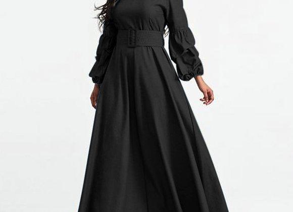 Elegant Women's Sundress Puff Sleeves Party Long Dresses 2021 VONDA OL Belted