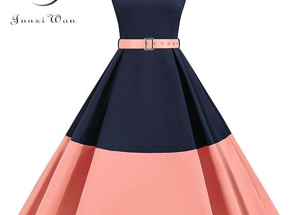 3XL Summer Women Elegant Vintage Midi Dress Sexy Solid Patchwork A-Line