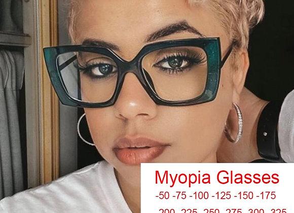 2021 Trendy Office Anti Blue Light Computer Myopia Glasses Women Square Spectacl
