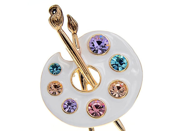 CINDY XIANG Draw Palette Brooch Creative Rhinestone Pins and Brooches Women