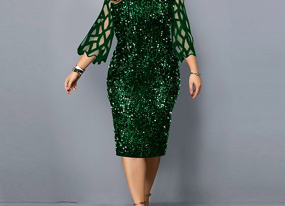Bodycon Dress Plus Size Sequin Green Women's Dress Sexy Birthday Party Dresses