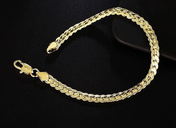 Fashion Gold Color Silver Color 5MM Men Jewelry Charm Women Lady Chain Bracelet