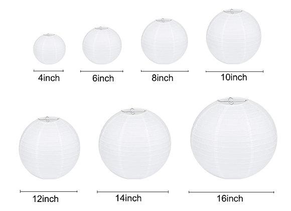 1pcs 4'' -16'' White Round Lantern Wedding Decor Hanging Ball Chinese Wish