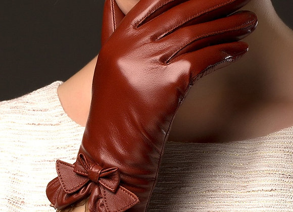 BOOUNI Genuine Sheepskin Gloves Fashion Wrist Lace Bow Solid Women Leather Glove