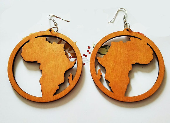 Black Brown Natural Wood Hollow Out Africa Map Tribal Tropical Fashion Black