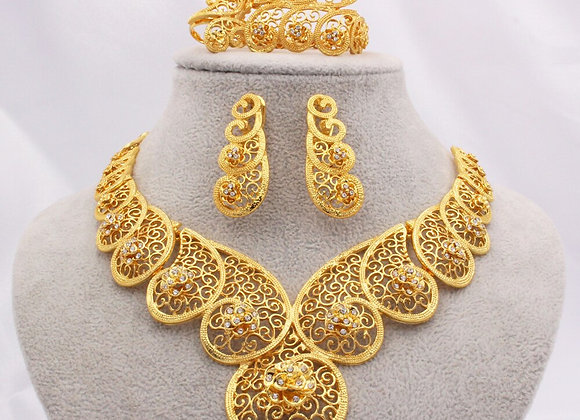 Dubai Gold Color Jewelry Sets for Women Africa Ethiopian Wedding Gifts Necklace