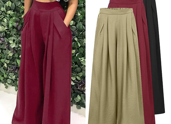 Celmia Women Wide Leg Pants 2021 Autumn High Waist Pleated Trouser Casual Loose