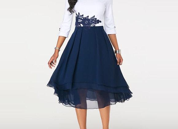 Autumn Plus Size O-Neck Lace Patchwork Office Work Elegant A-Line Female