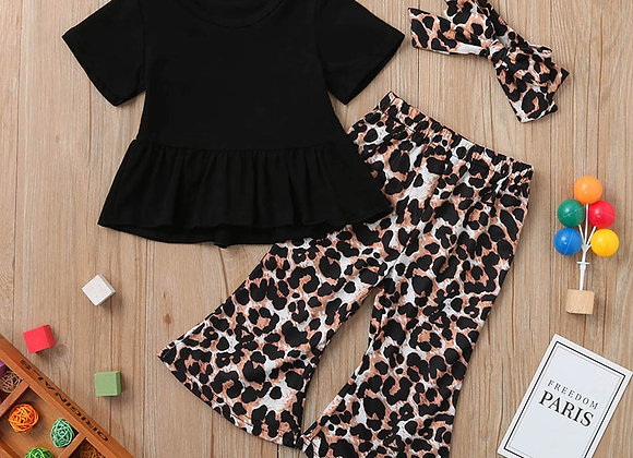 3pcs Baby Girl Clothes Set Fasion New Ruched Solid Top T-Shirt+leopard Pant