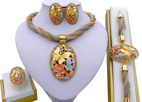African Jewelry Charm Necklace Earrings Dubai Gold Jewelry Sets for Women