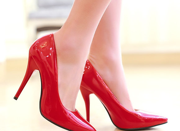 2021 Spring Women 10.5cm High Heels Pointed Toe Fashion Sexy Patent Leather