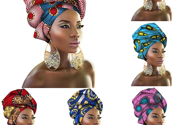 29Color African Dresses for Women Headband Printed Scarf Rich Bazin Nigerian Hea