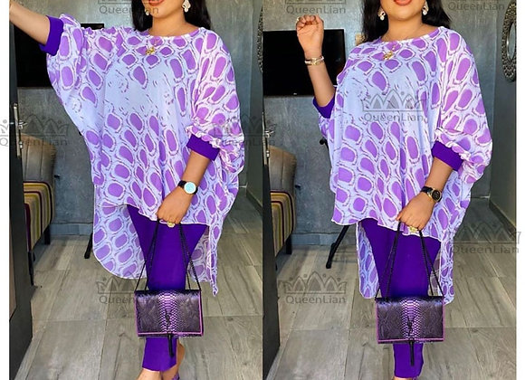 Dashiki African New Fashion Suit (Dress and Trousers)Bat Sleeve Suit Super Elast