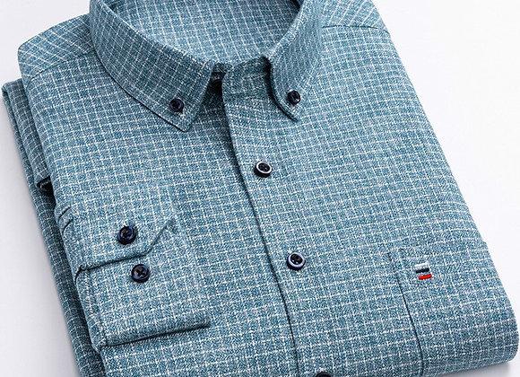 100% Pure Cotton 7XL 6XL Long Sleeve Shirt Plaid Business Slim Fit Shirt Men